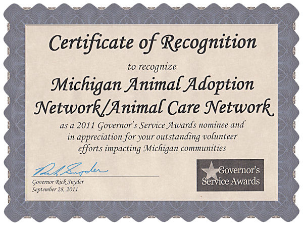 awards certificates and nominations michigan animal adoption network