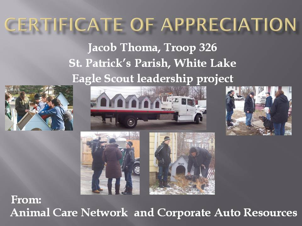 JACOB THOMA certificate of appreciation