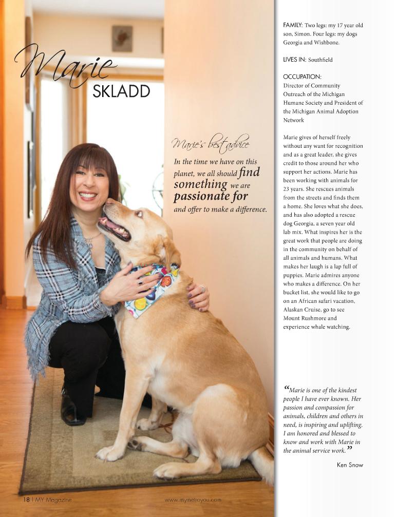 Marie Skladd magazine page
