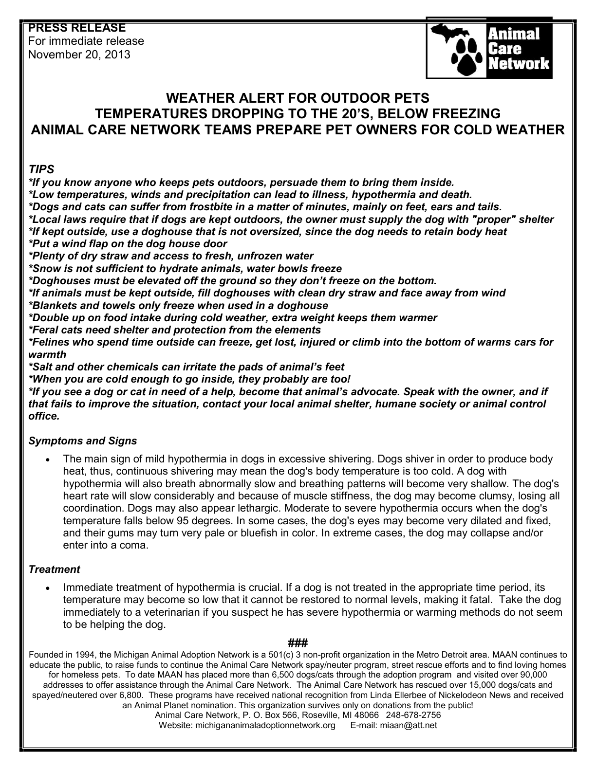 PRESS RELEASE COLD WEATHER ANIMAL CARE NETWORK 11-2013