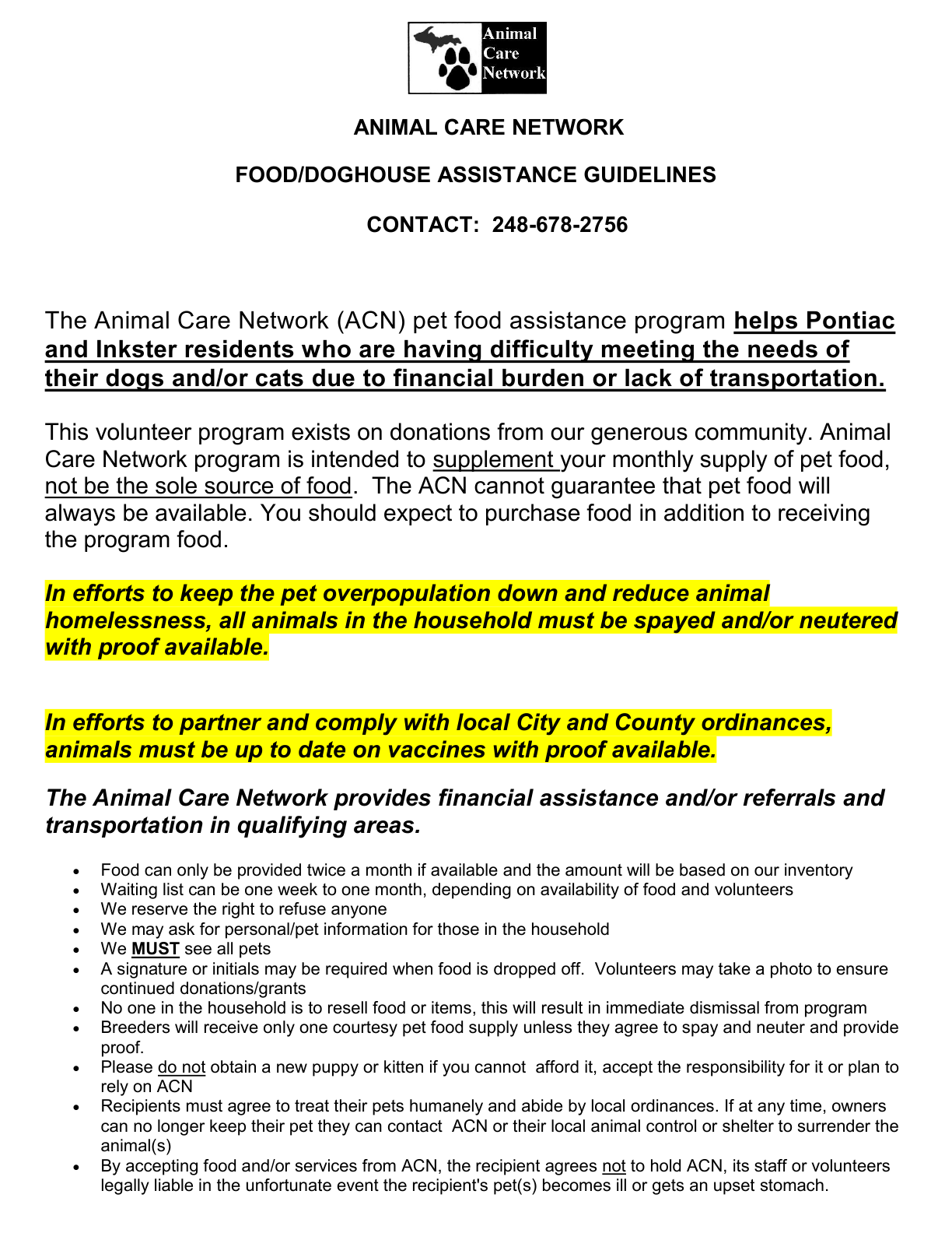 ACN FOOD ASSISTANCE GUIDELINES 2011 full page