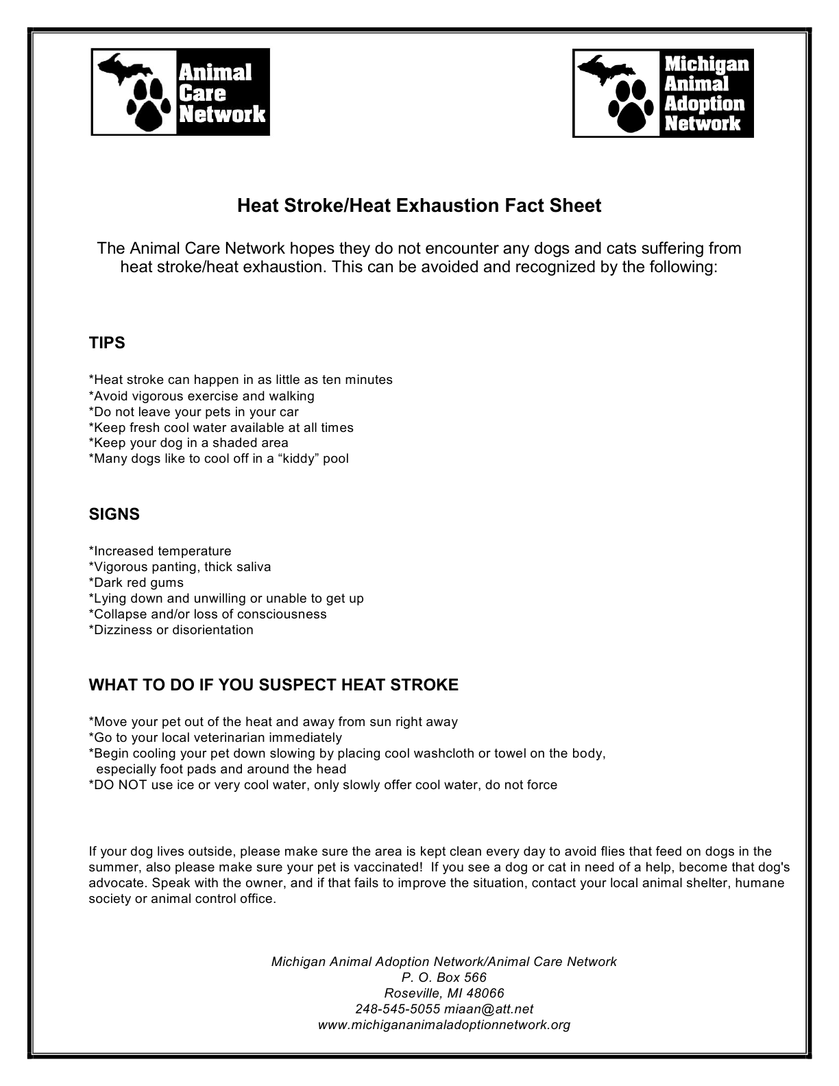 heat stroke heat exhaustion fact sheet michigan animal adoption