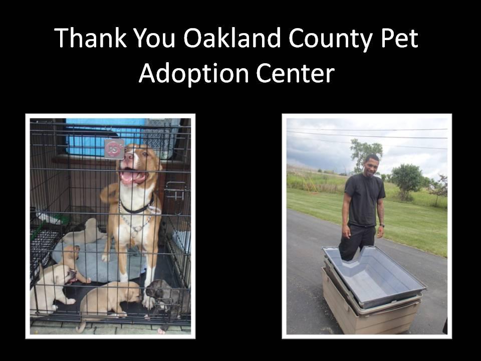 Thank You Oakland County Pet Adoption Center